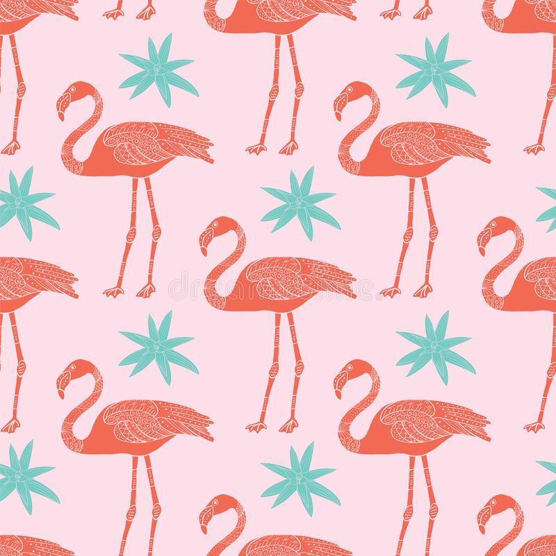 Vector tropical flamingos and flowers seamless pattern on pink background royalty free illustration