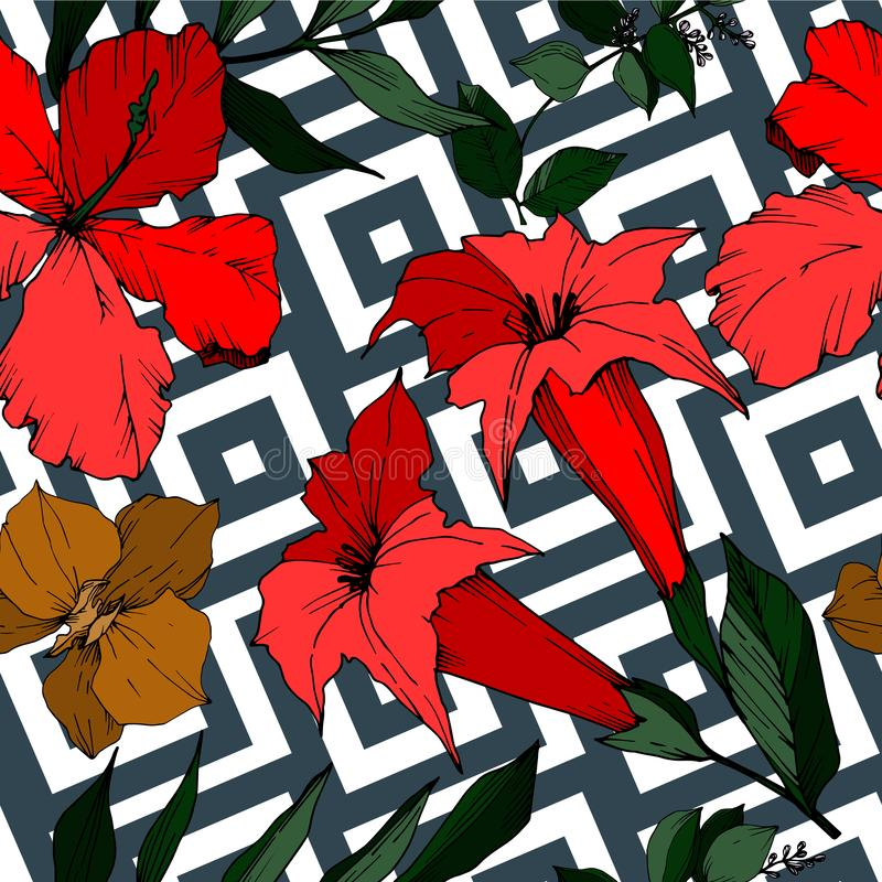 Vector Tropical flowers and leaves isolated. Black and white engraved ink art. Seamless background pattern. vector illustration