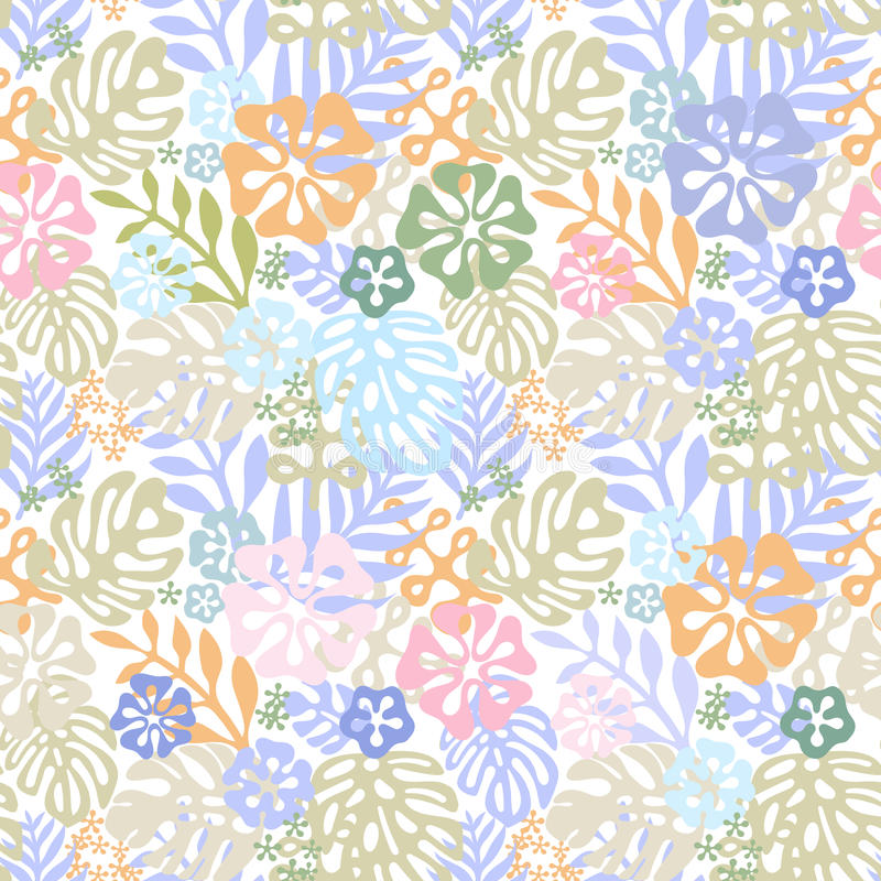 Vector tropical flowers patten. seamless design with gorgeus botanical elements, hibiscus, palm, bird of paradise royalty free illustration