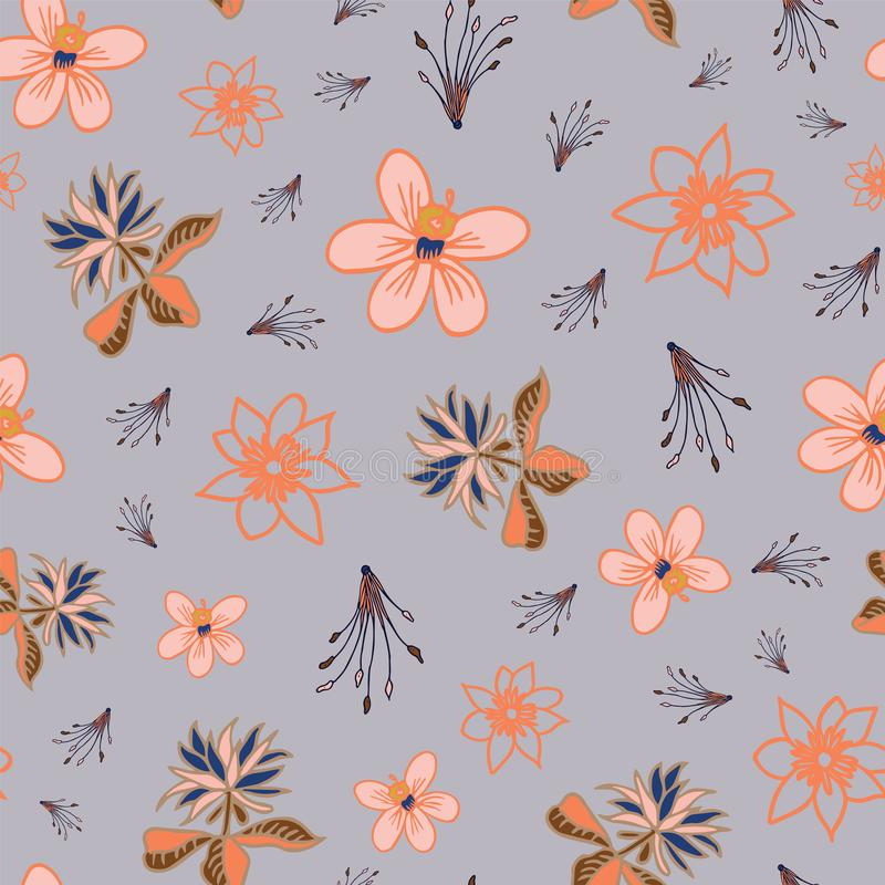 Vector tropical flowers seamless pattern repeat on light blue background vector illustration