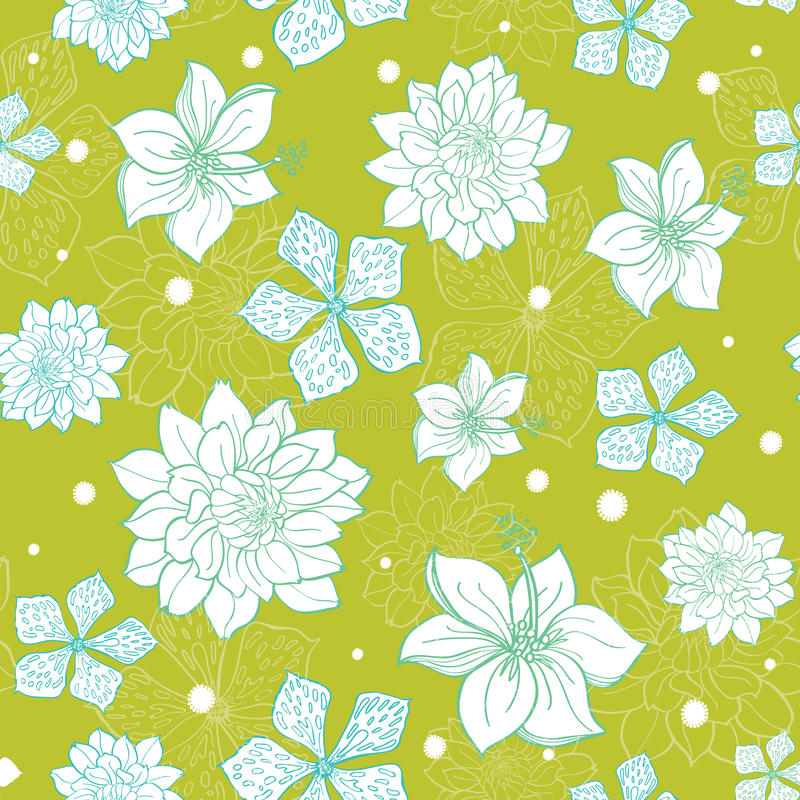 Vector Tropical Green Blue Flowers Seamless Repeat Pattern ...
