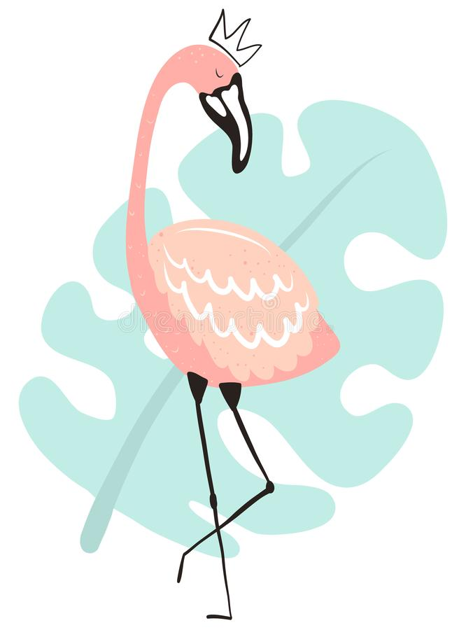 Vector tropical illustration of a flamingo in the crown on the blue monstera leaf background. Hand-drawn summer poster for kids, stock illustration