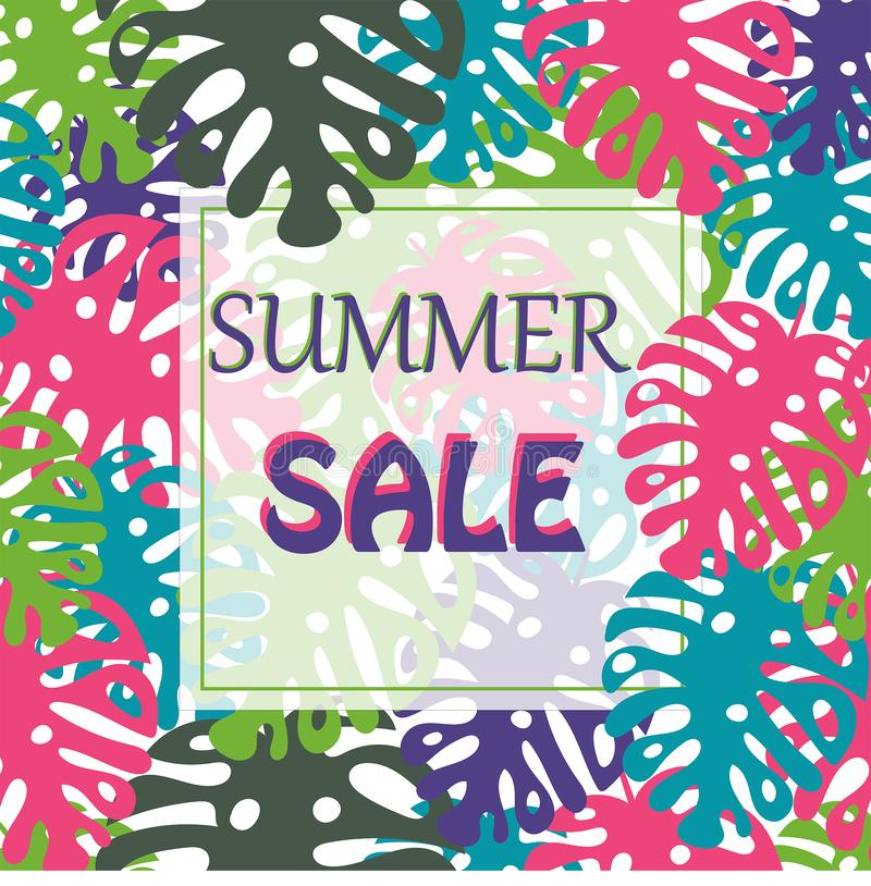 Vector tropical leaves frame. Template, print, mock up, background. Summer sale design. royalty free illustration