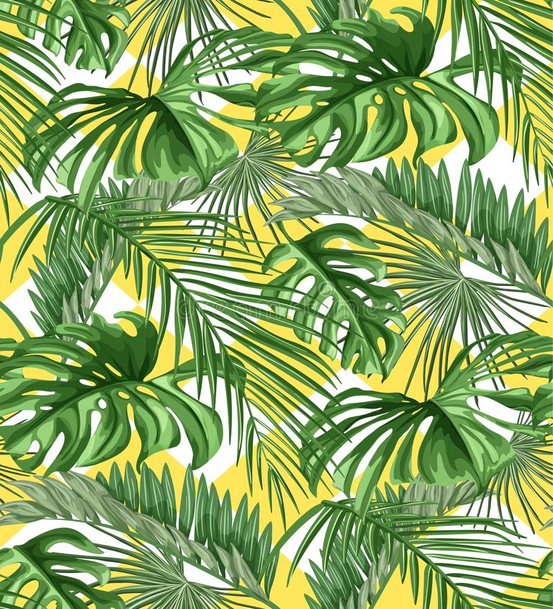 Vector tropical leaves summer seamless pattern stock illustration