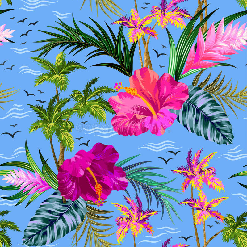 Vector tropical palm trees pattern vector illustration