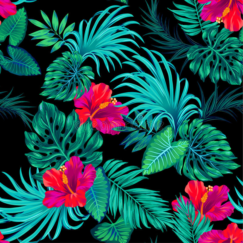 Vector tropical pattern with palms and hibiscus . royalty free illustration