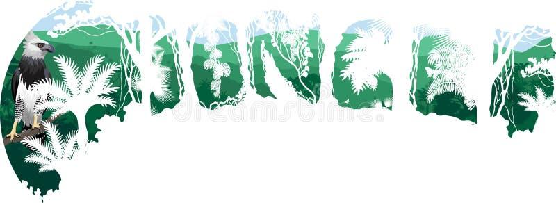 Vector tropical rainforest Jungle forest illustration witn harpy eagle royalty free illustration
