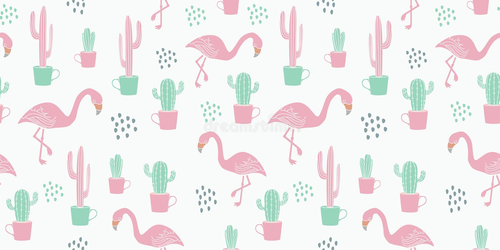 Vector tropical seamless pattern background with flamingo hand drawn colorful vintage childish drawing style stock illustration