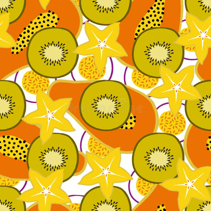 Vector tropical seamless pattern with exotic sliced ​​fruits: papaya, kiwi, carambola, passion fruit. Trendy summer design. For textile, poster vector illustration