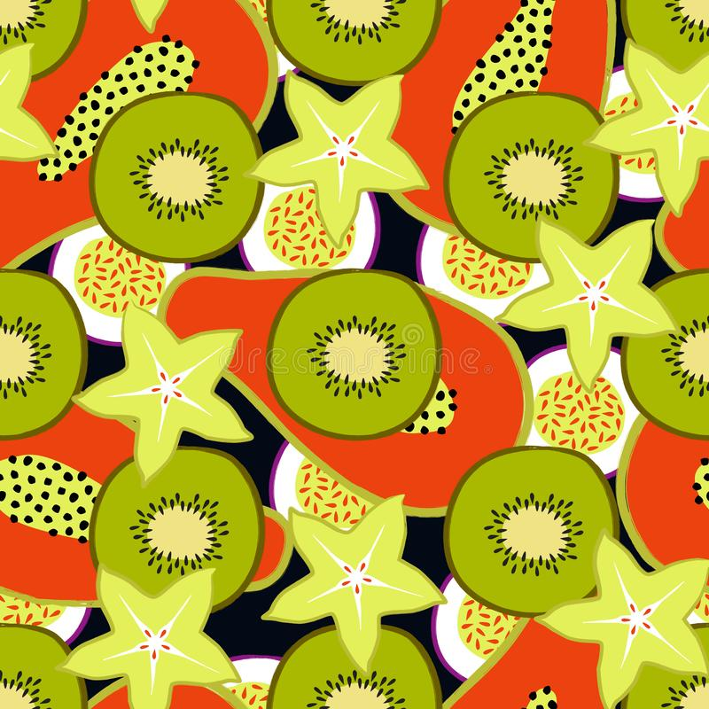 Vector tropical seamless pattern with exotic sliced ​​fruits: papaya, kiwi, carambola, passion fruit. Trendy summer design. For textile, poster stock illustration