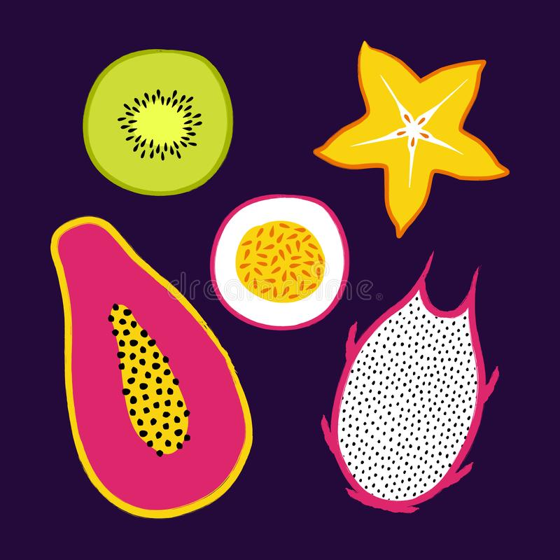 Vector tropical set with exotic sliced ​​fruits: papaya, kiwi, pitaya, carambola, passion fruit. Trendy summer design. For textile, poster, banner royalty free illustration