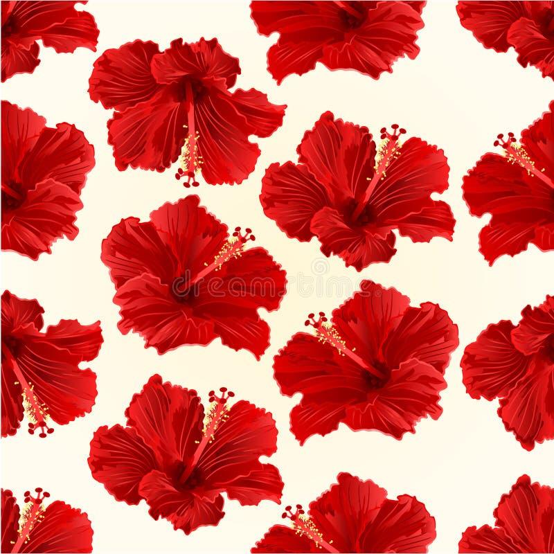 Vector tropical simple del vintage de la flor del hibisco rojo inconsútil de la textura ilustración del vector