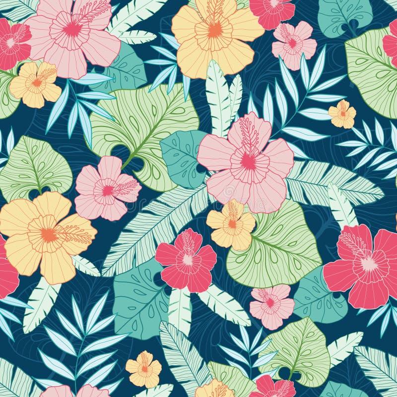 Vector tropisch de zomer Hawaiiaans naadloos patroon met tropische installaties, bladeren, en hibiscusbloemen Groot voor vakantie stock illustratie