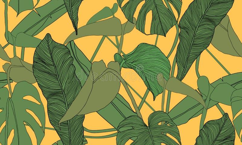 Vector tropisch naadloos patroon Exotische groene installaties op gele achtergrond Banaan en monsterabladeren Abstract bloemen na royalty-vrije illustratie