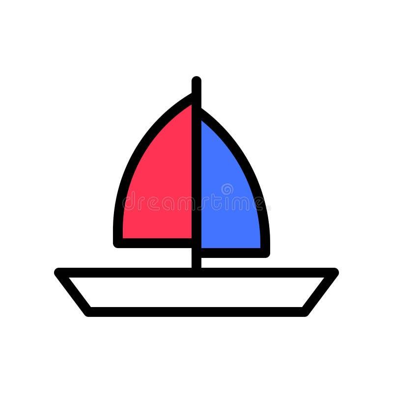 Vector, tropisch verwant gevuld de stijlpictogram van de zeilboot vector illustratie