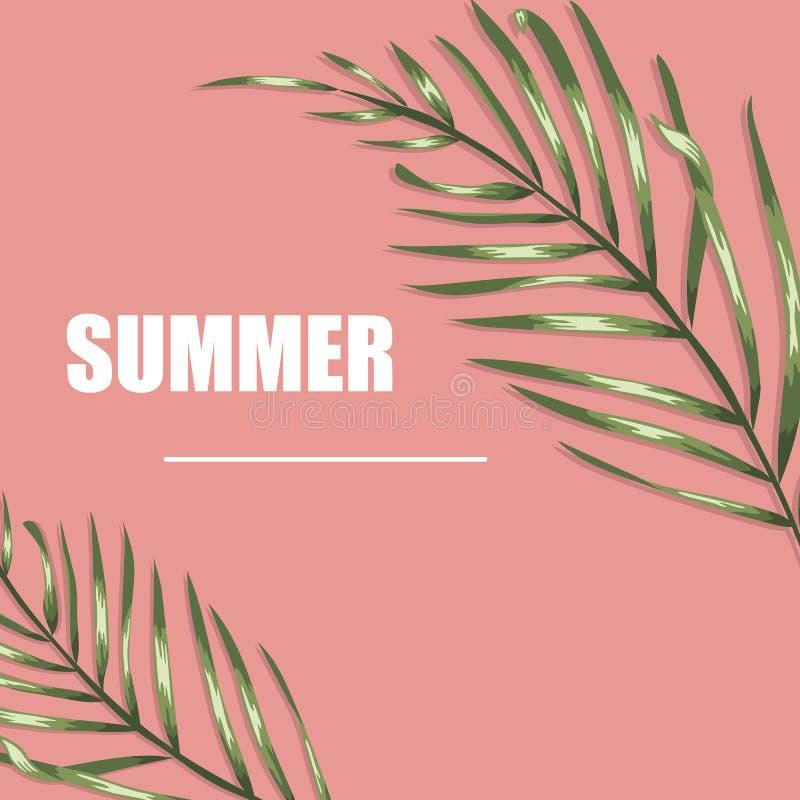 Vector tropische affiche met groene palmbladen royalty-vrije stock foto