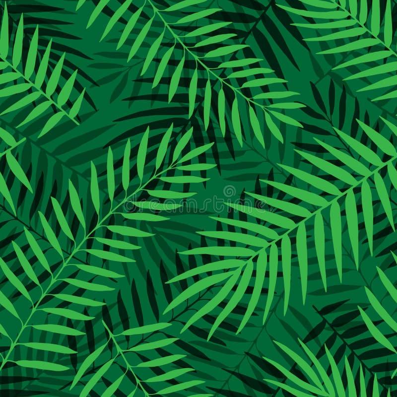 Vector Tropische de wildernis bloemen sierachtergrond van het palmbladen naadloze patroon vector illustratie