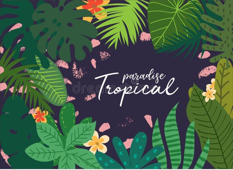 Vector tropische de zomerdruk, exotische wildernisinstallatie en palmbladenillustratie bloemen en geometrische grungeachtergrond  stock illustratie