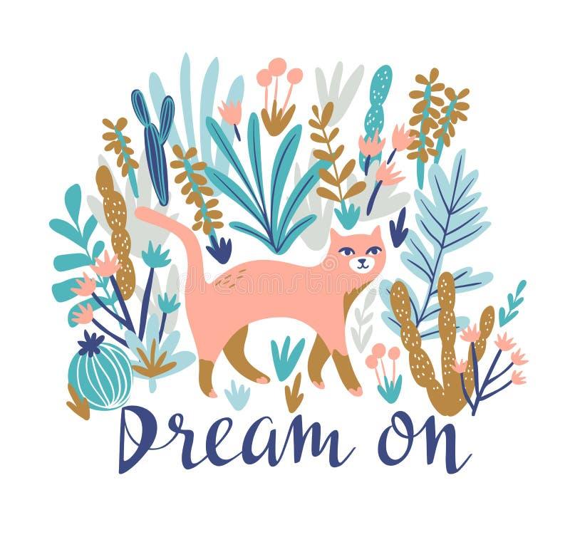 Vector tropische druk voor t-shirt met kat in de woestijn In dierlijk ontwerp in bohostijl met het van letters voorzien vector illustratie