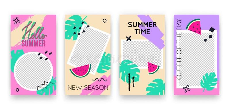 Vector in tropische editable reeks malplaatjes voor sociale media netwerkenverhalen De moderne achtergronden van het de zomerontw royalty-vrije illustratie