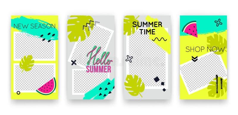 Vector in tropische editable reeks malplaatjes voor sociale media netwerkenverhalen De moderne achtergronden van het de zomerontw stock illustratie
