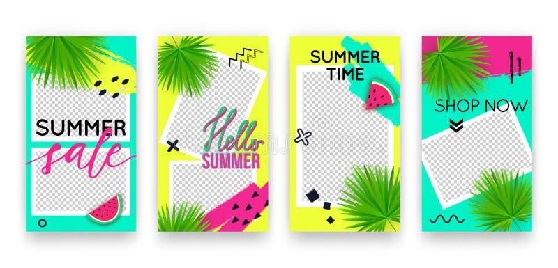 Vector in tropische editable reeks malplaatjes voor sociale media netwerkenverhalen De moderne achtergronden van het de zomerontw vector illustratie