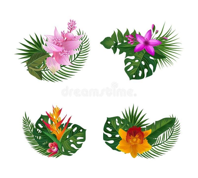 Vector tropische palmbladen en de exotische boeketten van bloemelementen op witte achtergrond royalty-vrije illustratie