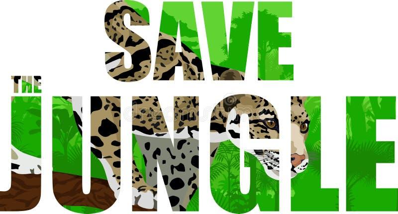 Vector tropische regenwoudillustratie met betrokken luipaard vector illustratie