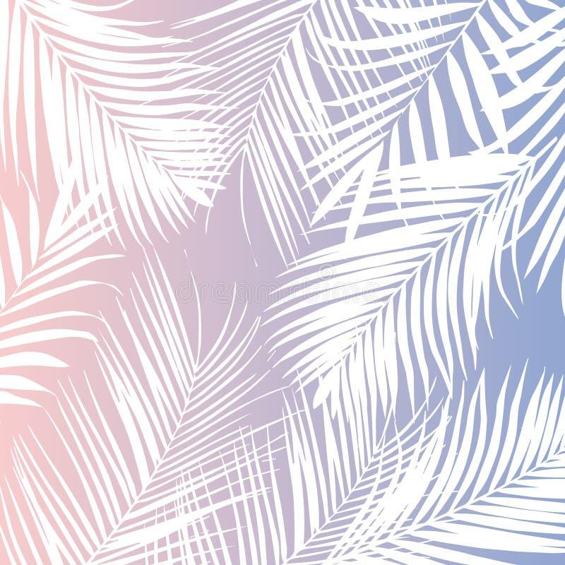 Vector tropische witte palmbladen op roze achtergrond stock illustratie