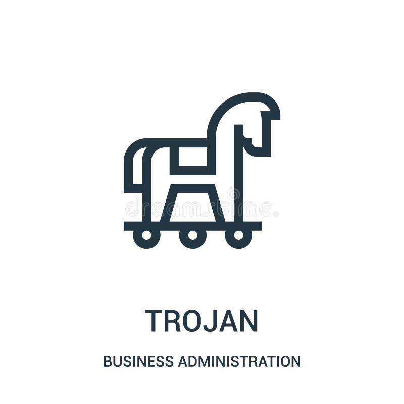vector troyano del icono de la colección de la administración de empresas Línea fina ejemplo troyano del vector del icono del esq ilustración del vector