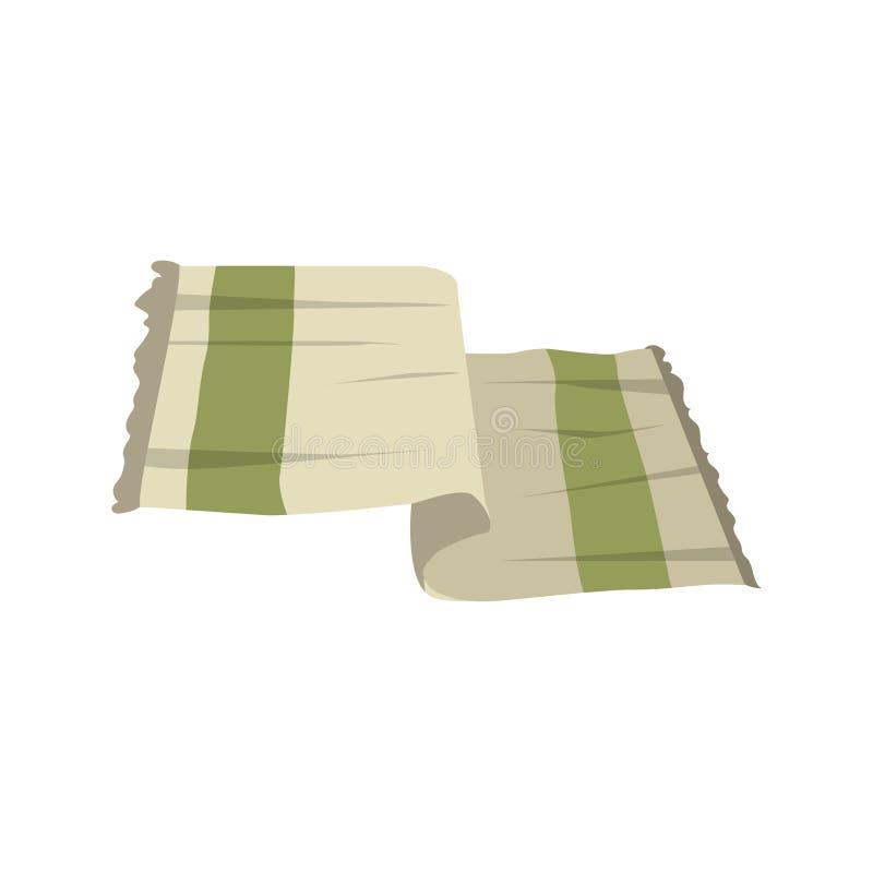 Vector Tuch-Vektorikone der flachen Art der Karikatur hellgrüne Stilisierter Bad- und Badekurortzusatz auf weißem Hintergrund vektor abbildung