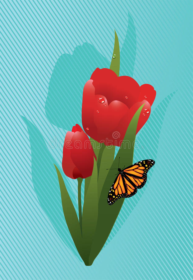 Download Vector Tulips And A Butterfly Stock Vector - Illustration: 26098188