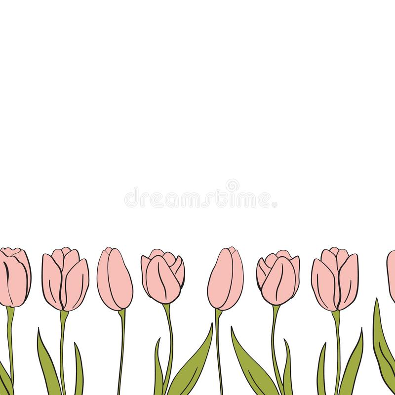 Vector tulips seamless banner for Mathers Day. Flower isolated elements. For design, card, print or background.  royalty free illustration