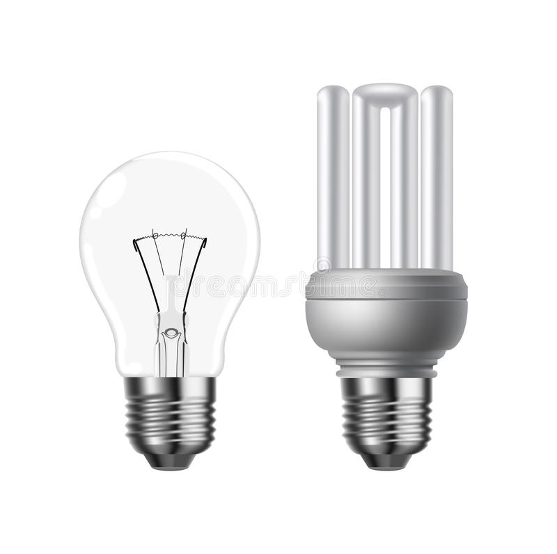 Vector Tungsten And Energy Saving Lightbulb Stock Photography