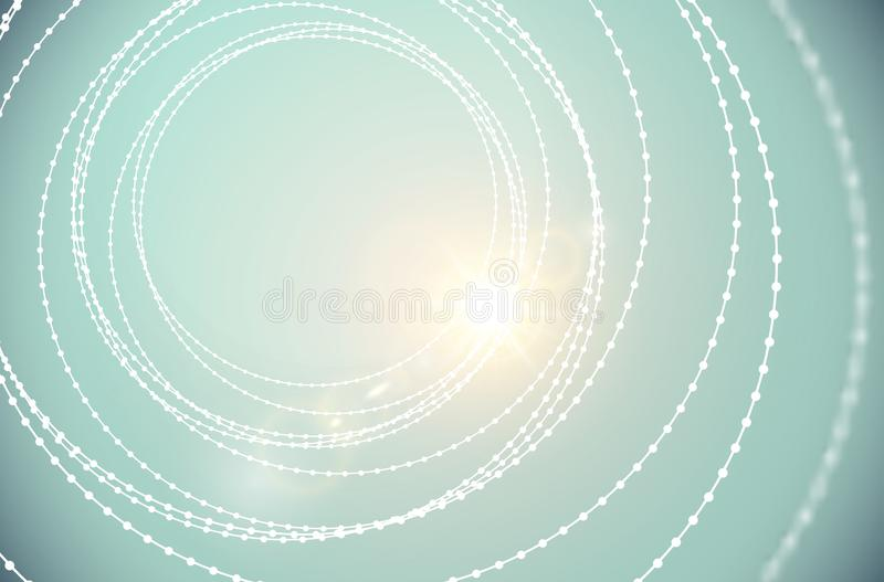 Vector tunnel wire beads spiral structure shining lens flare light effect background. Abstract elegant cyber sci-fi modern swirl royalty free illustration