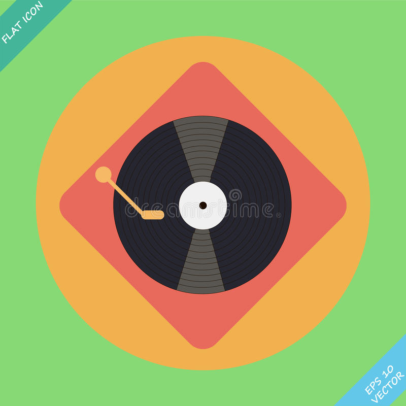 Vector turntable player icon. Flat design. Vector turntable player icon - vector illustration. Flat design element royalty free illustration