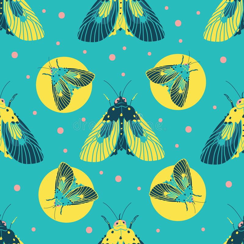 Vector turquoise blue moths pattern with circles and dots. Suitable for gift wrap, textile or wallpaper. stock illustration