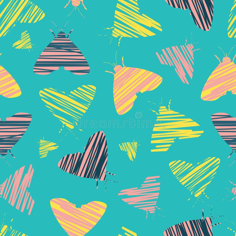Vector turquoise blue moths shape abstract brush pattern. Suitable for gift wrap, textile or wallpaper. stock illustration
