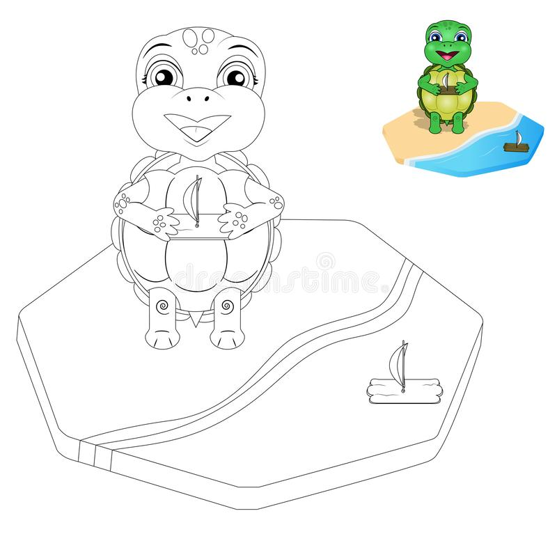 Vector turtle coloring page vector illustration