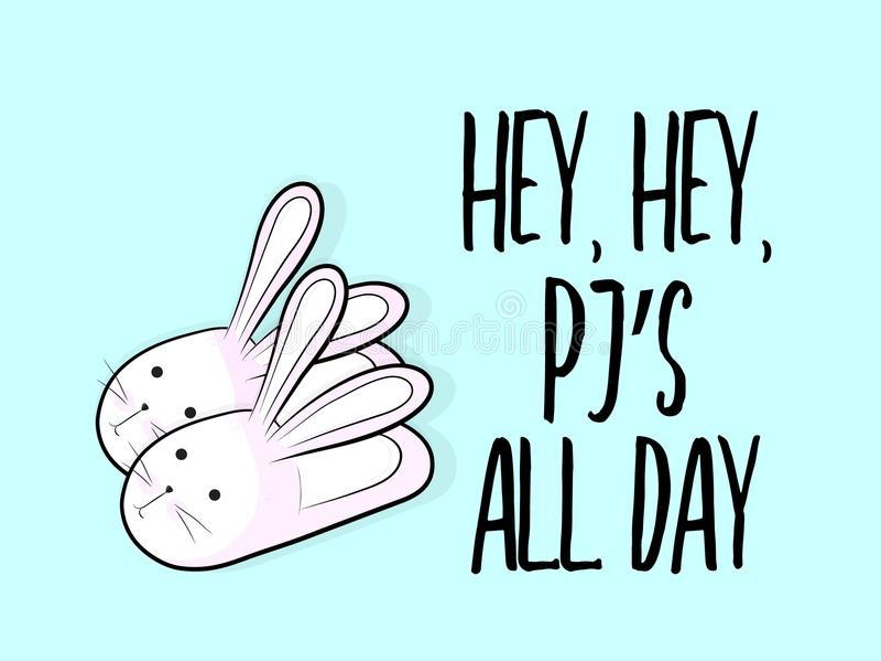 Vector tutto il giorno le pantofole divertenti del coniglietto con testo Pj Manifesto di fine settimana Rilassi le scarpe lanugin illustrazione di stock