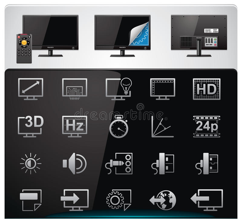 Free Vector TV Features And Specifications Icon Set Royalty Free Stock Photo - 18527755