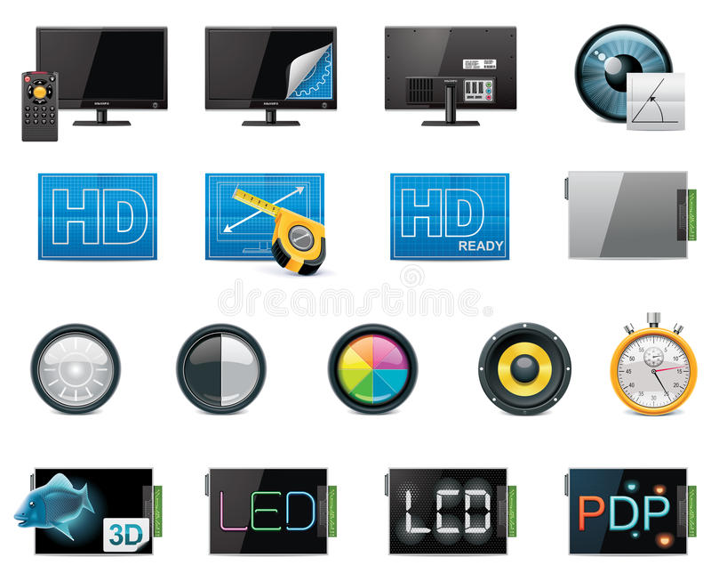 Download Vector TV Features And Specifications Icon Set Stock Vector - Illustration: 18527741