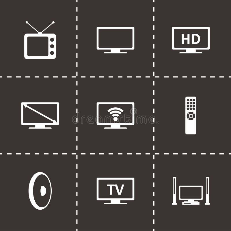 Vector tv icon set. On black background royalty free illustration