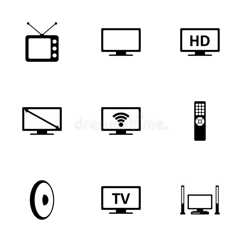 Vector tv icon set. On white background stock illustration