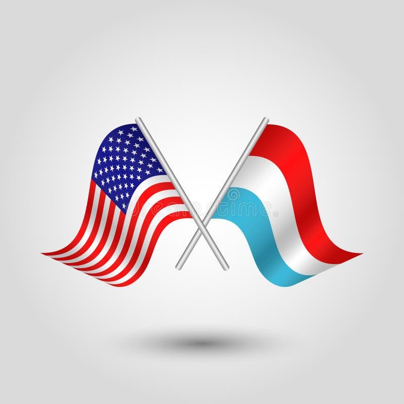 Vector twee Amerikaanse en Luxemburgse vlaggen op zilveren stokken - symbool van de Verenigde Staten van Amerika en Luxemburg vector illustratie