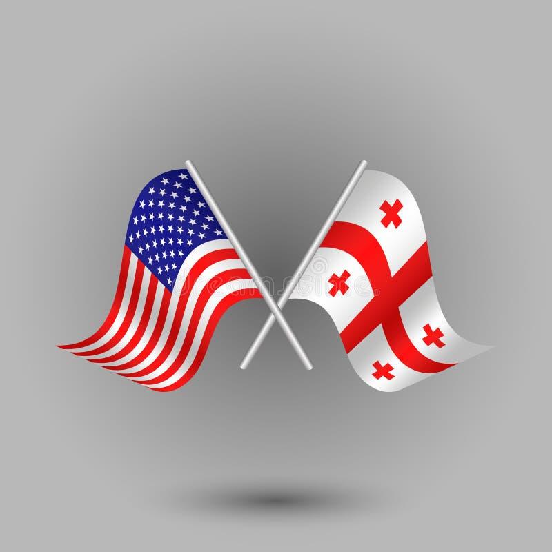 Vector twee gekruiste Amerikaan en vlag van de symbolen van Georgië van de Verenigde Staten van Amerika de V.S. stock illustratie