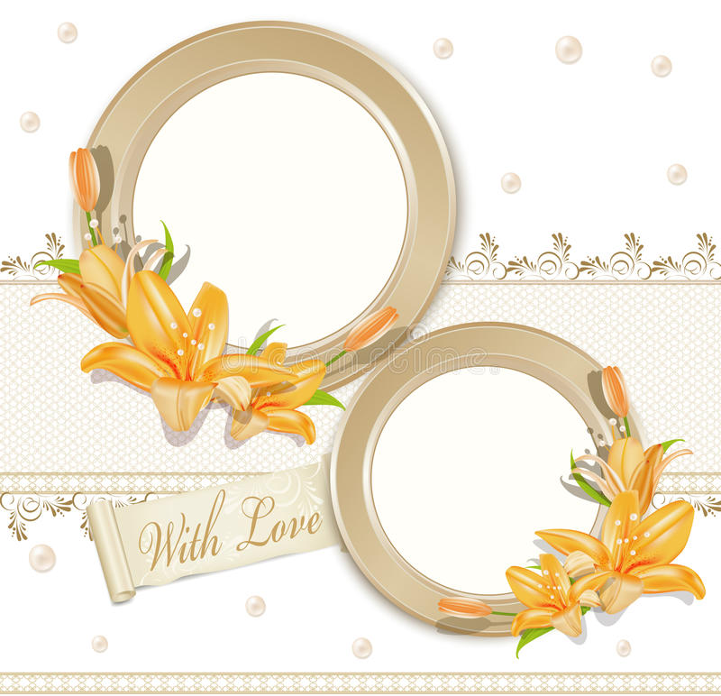 Vector with two circular photo frames, lilies vector illustration
