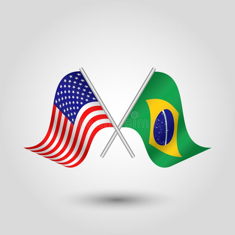 vector two crossed american and brazilian flags on silver sticks royalty free illustration