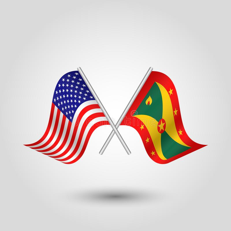 Vector crossed american and grenadian flags on silver sticks - symbol of united states of america and grenada royalty free illustration