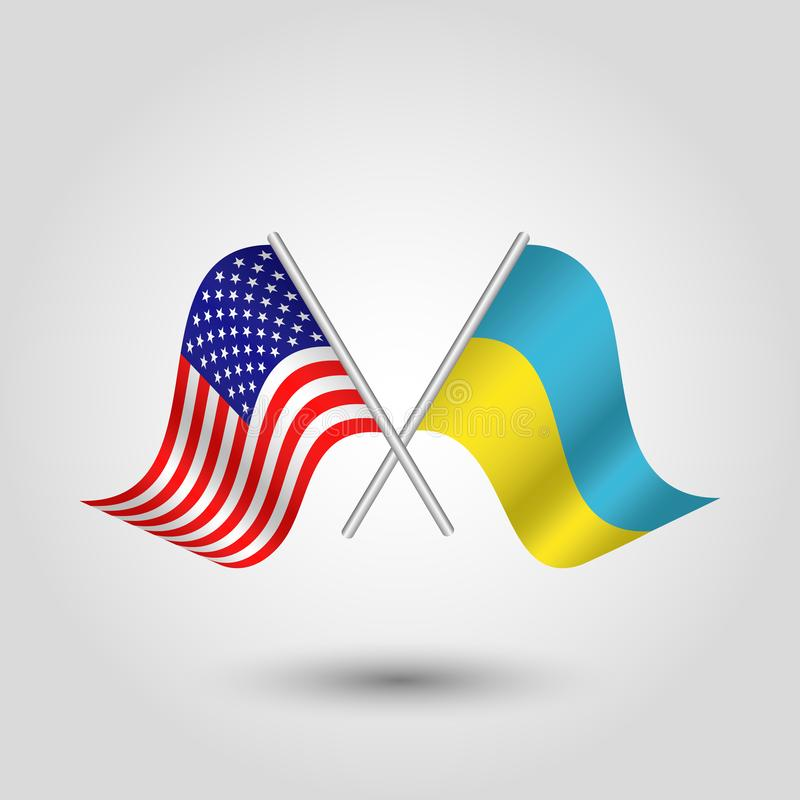 Vector crossed american and ukrainian flags on silver sticks - symbol of united states of america and ukraina. Vector two crossed american and ukrainian flags on royalty free illustration